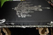 UNUSUAL ADJUSTABLE FOOT STOOL BLACK SATIN SILVER EMBROIDERY FRINGE GILT LEGS